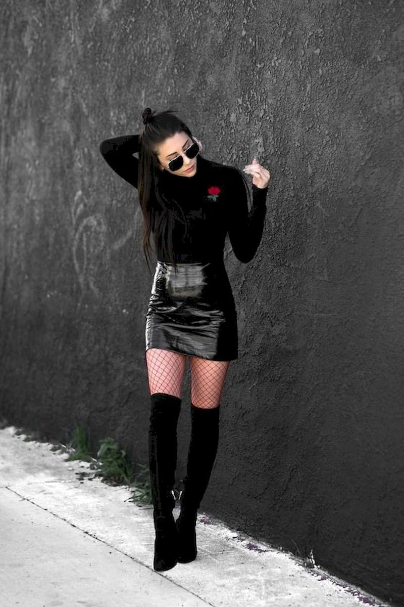Spring outfit with knee boots