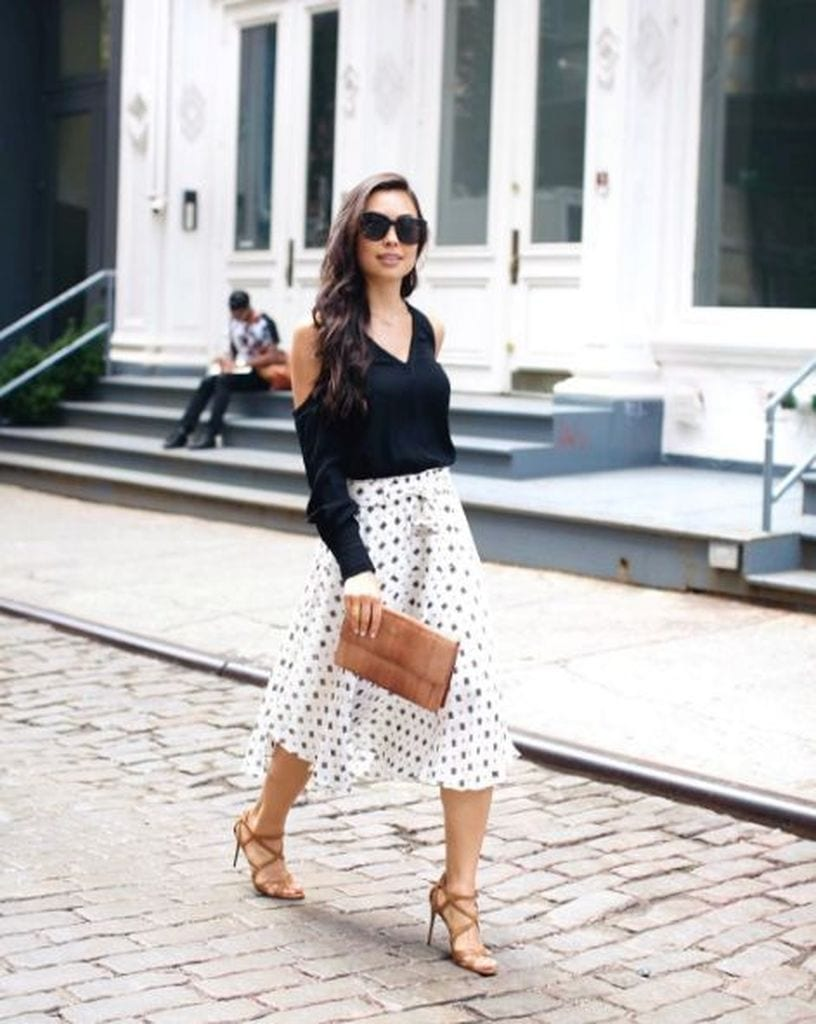 Summer outfit with polka dot skirt