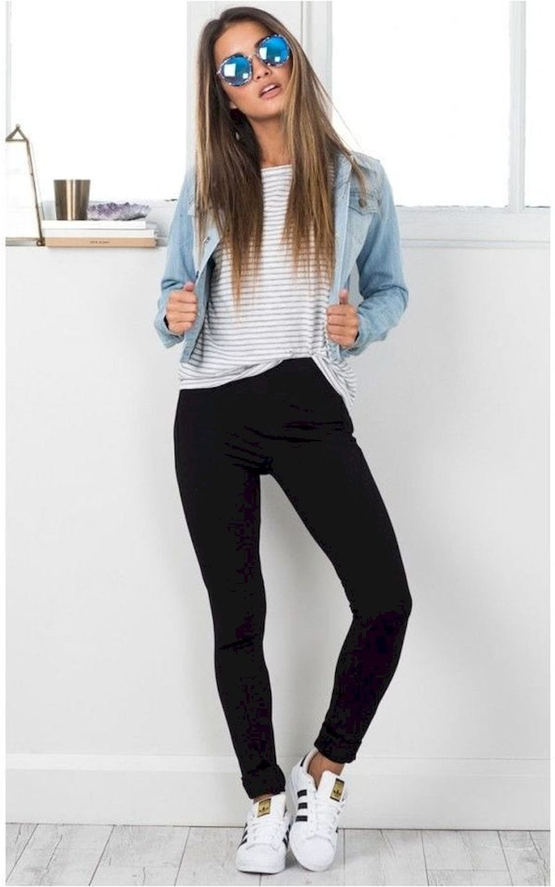 Spring outfit with jeans shirt and white shoes