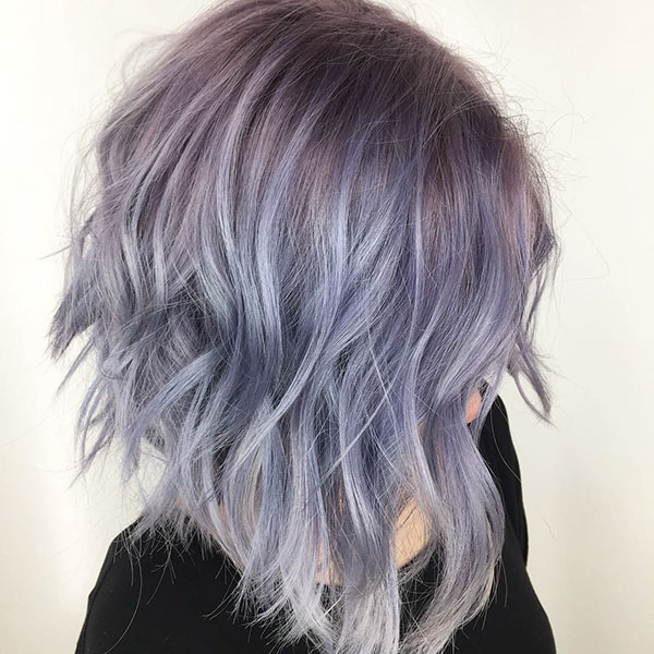 Purple Inverted Bob Haircut