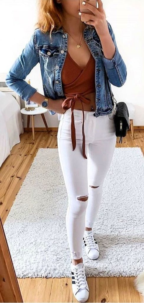 25+ Brilliant Summer Outfits To Copy ASAP - blue denim jacket #summer #outfits #summeroutfits #summerfashion #summerstyle