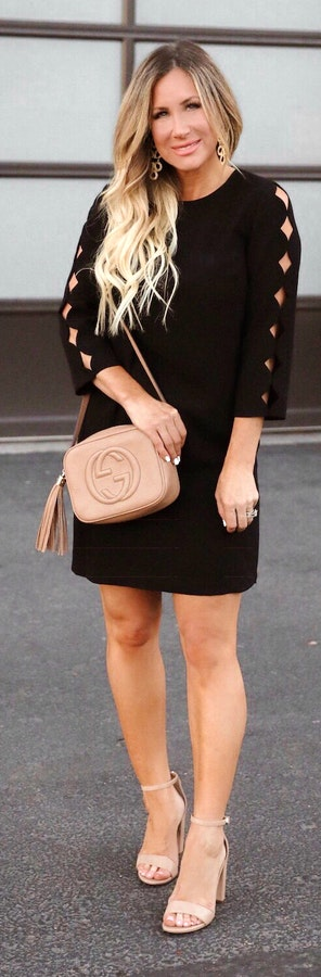 Black Long Sleeved Mini Dress + Brown High Heels + Handbag.