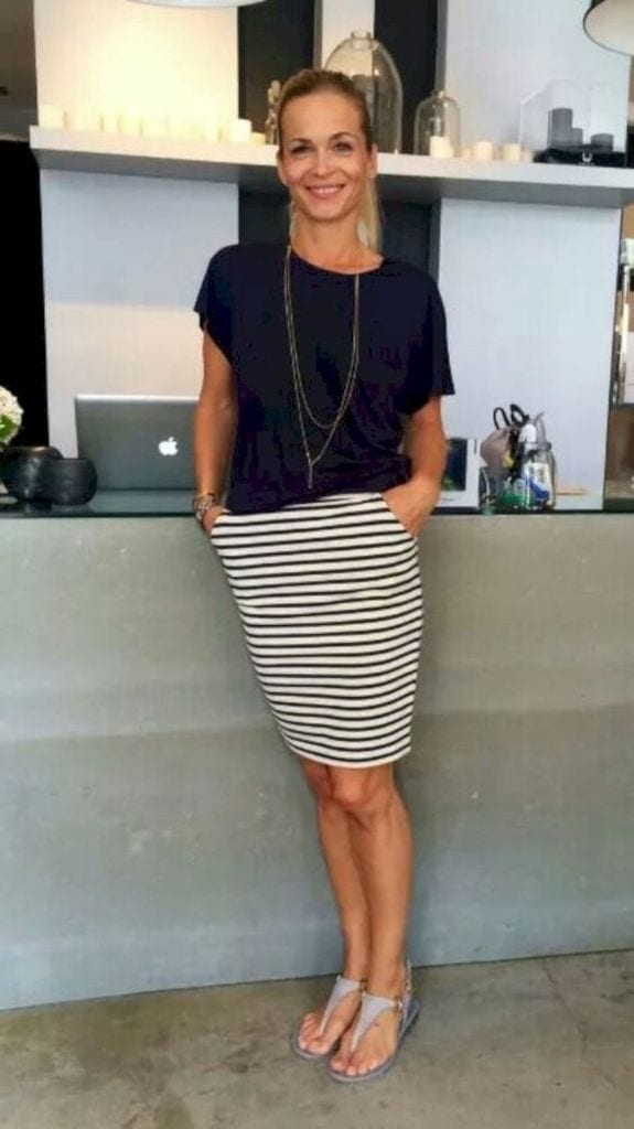 Summer outfit with short striped skirt