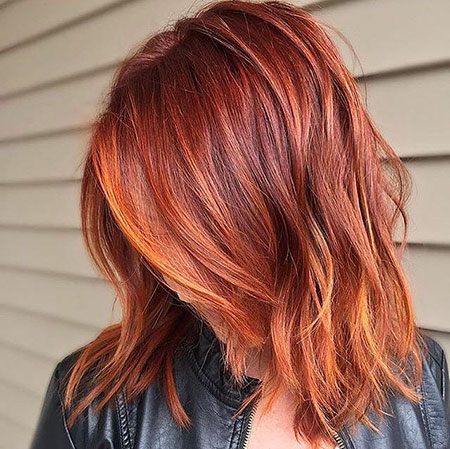 Short Red Hair Color Ideas, Red Copper Balayage Shoulder