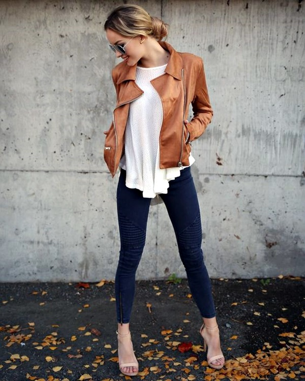#fall #outfits / Brown Leather Jacket - White Top