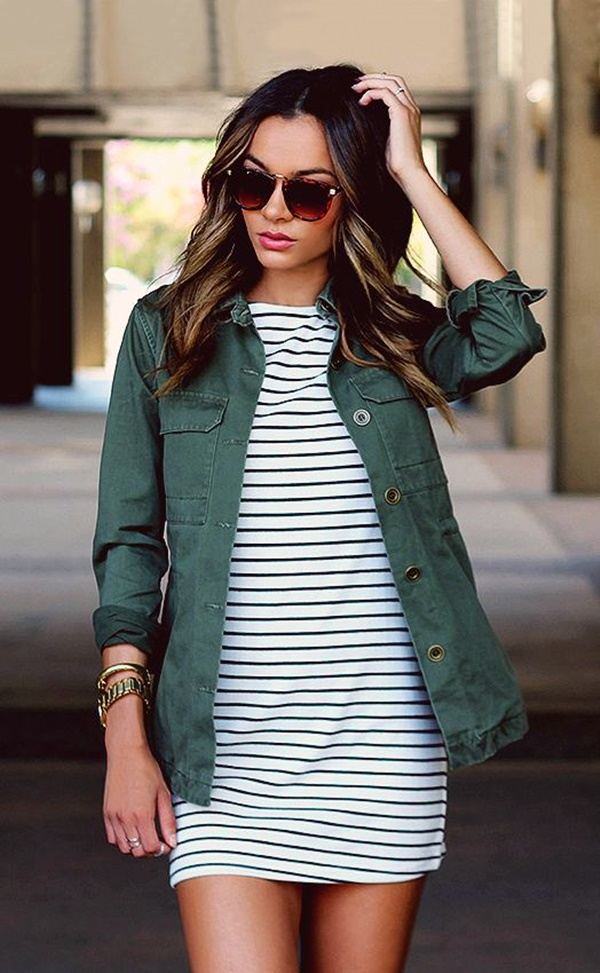 / Green Olive Jacket - Striped Dress
