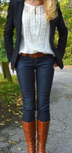 #fall #outfits / Dark Blue Blazer - Tall Boots