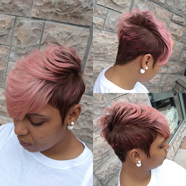 Short Pink Hairstyles For Black Women