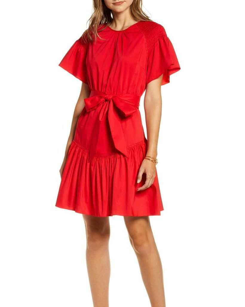 Red-dress-with-fabric-belts