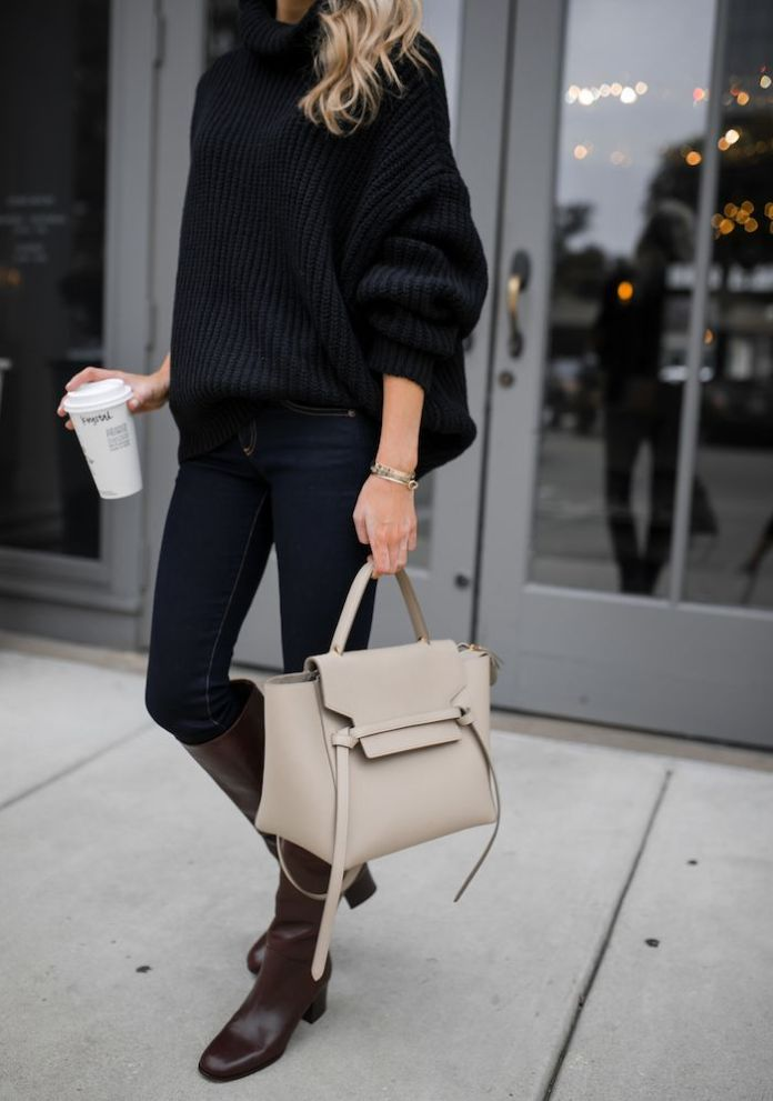 #fall #outfits / Black Over Size Long Sleeve - Brown Tall Boots