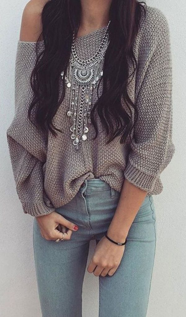 #fall #outfits / Off Shoulder Tunic - Silver Necklace