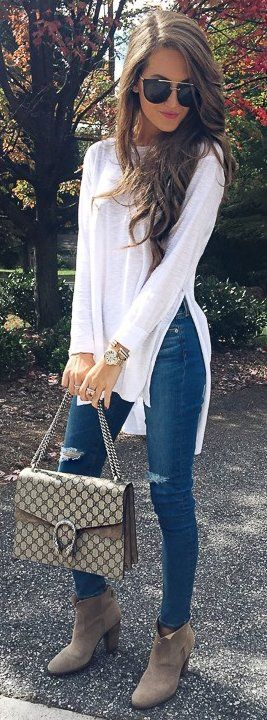 #fall #outfits / White Tunic - Beige Ankle Heel Booties