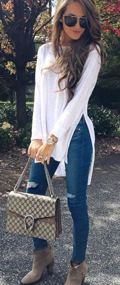 #fall #outfits / White Smoke Off Shoulder - Ripped Jeans