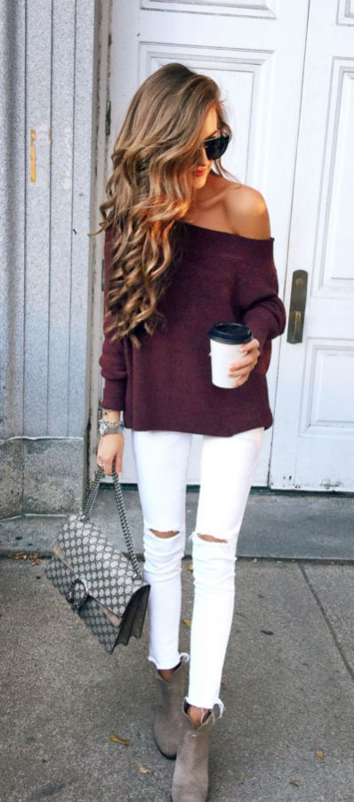 #fall #outfits / Burgundy Off Shoulder - White Jeans