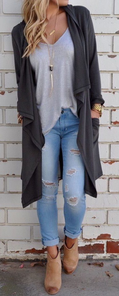 #fall #outfits / Grey Cardigan - Beige Booties