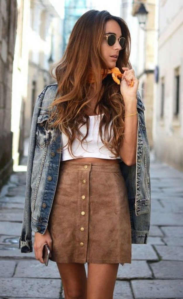 #fall #outfits / Denim Jacket - Brown Skirt