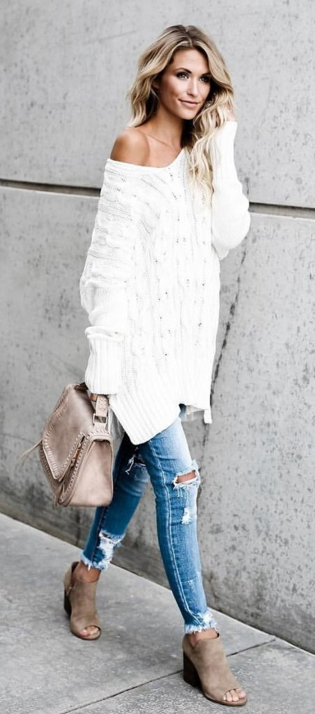 #fall #outfits / White Over Size Tunic - Beige Ankle Booties