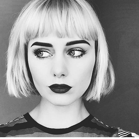 Short Blunt Cut Bob with Bangs, Bob Blonde Makeup Bobs