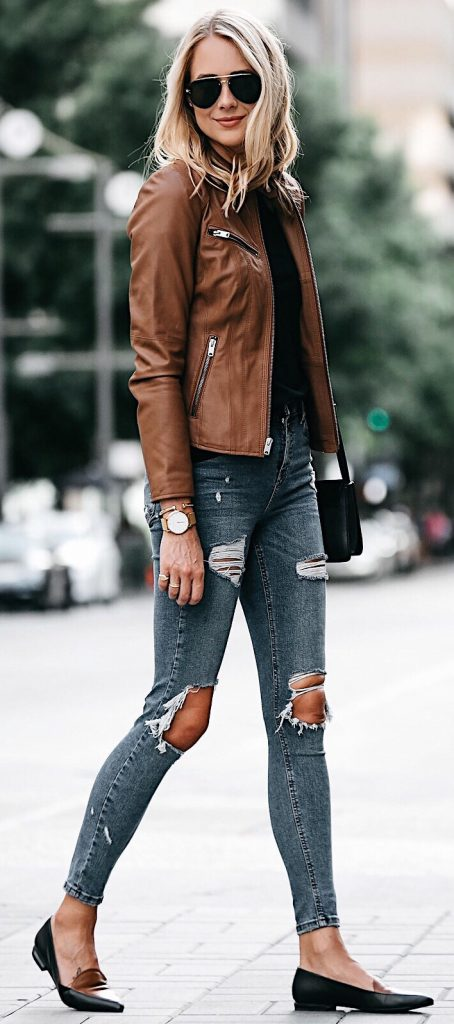 #fall #outfits / Brown Leather Jacket - Black Slippers