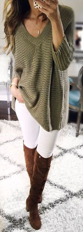 #fall #outfits / Green V-Neck Tunic - Tall Boots