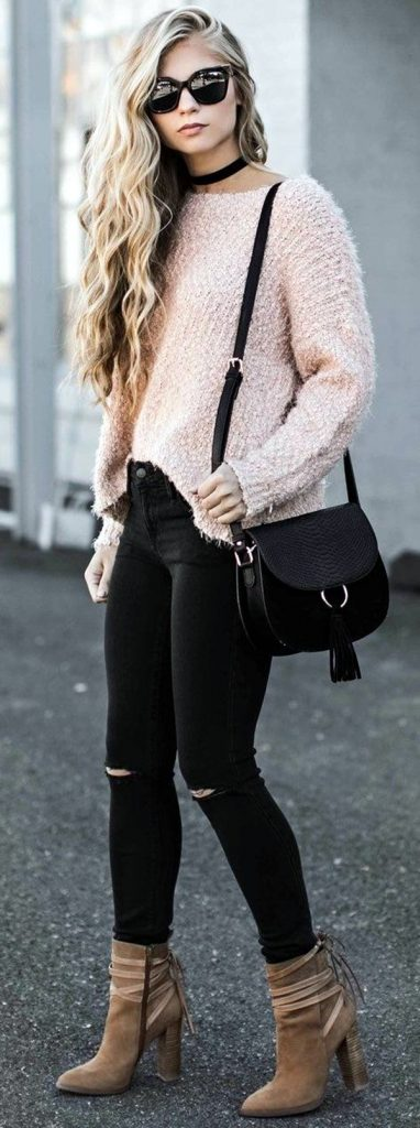 #fall #outfits / Light Salmon Long Sleeve - Black Ripped Jeans