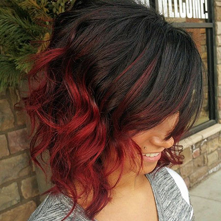 Red Balayage Ombre Color