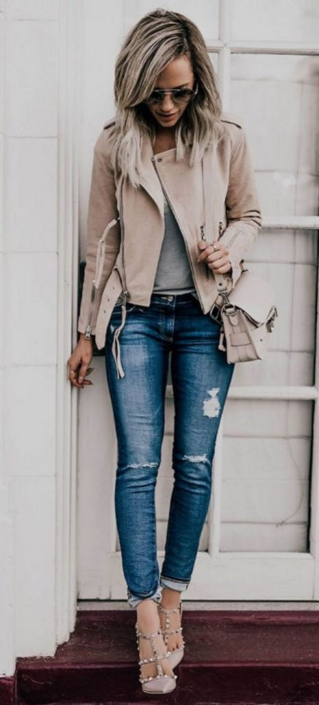 #fall #outfits / Leather Jacket - Skinny Jeans