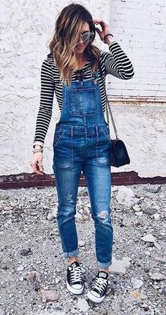 #fall #outfits / Stripes - Denim Overall