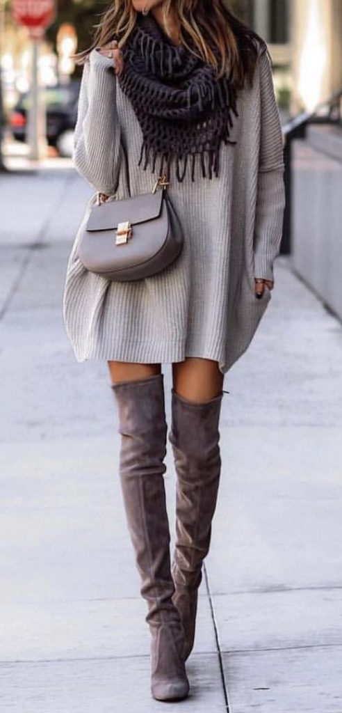 #fall #outfits / Grey Over Size Tunic - Tall Boots