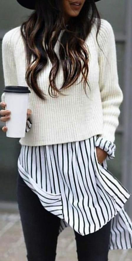 #fall #outfits / White Knitted Long Sleeve - Stripes