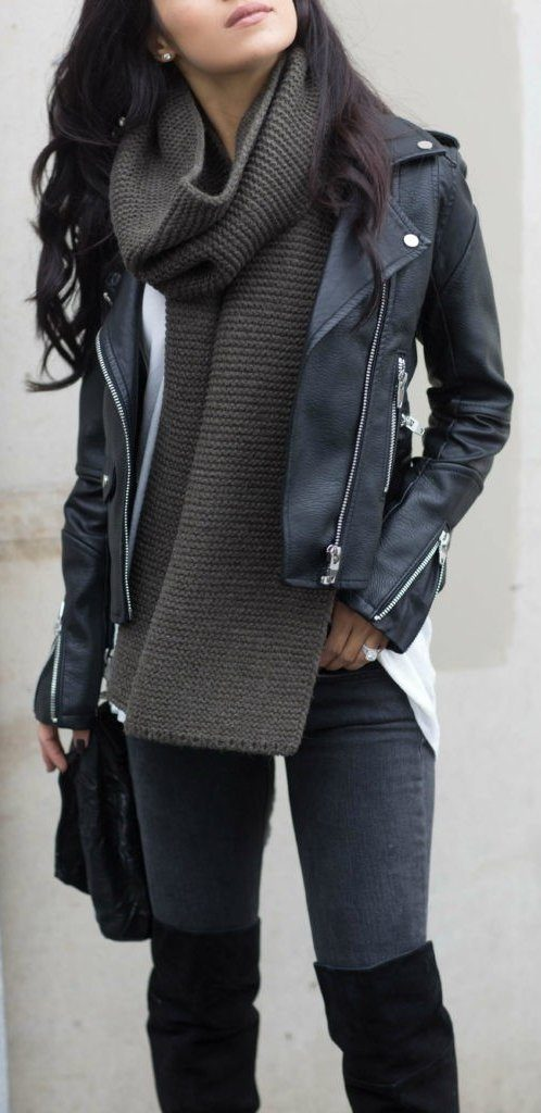 #fall #outfits / Black Leather Jacket - Tall Boots
