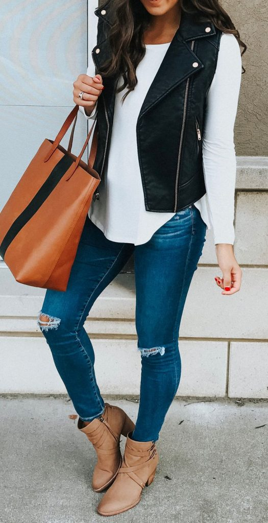 #fall #outfits / Black Leather Vest - Ankle Booties
