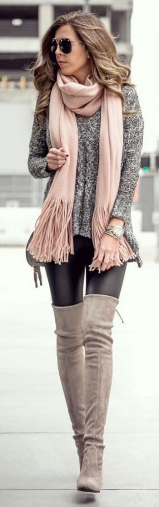 #fall #outfits / Salmon Scarf - Tall Boots