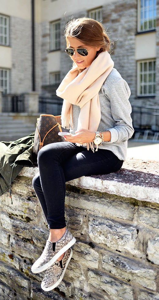 #fall #outfits / Bone White Scarf - Grey Long Sleeve