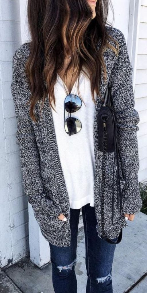 / Grey Knitted Cardigan - White V-Tee