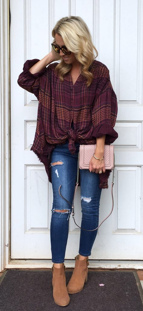 #fall #outfits / Over Size Plaid Shirt - Ankle Booties