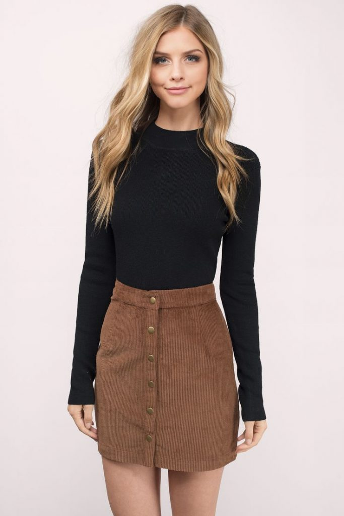 #fall #outfits / Black Long Sleeve - Beige Skirt