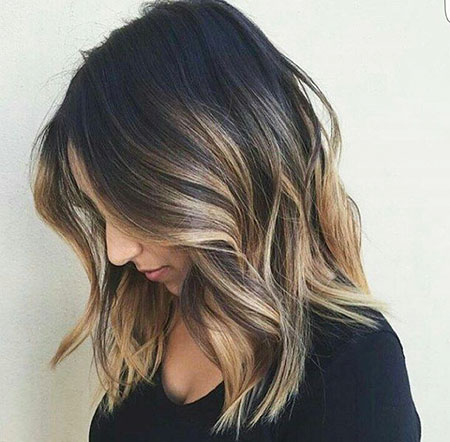 Balayage Length Medium Blonde