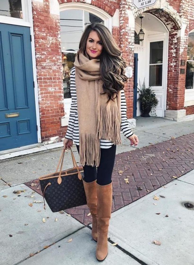 Striped-pullover-and-oversize-scarf.-