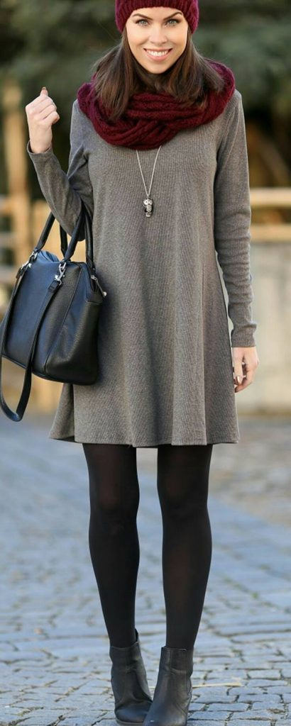 #fall #outfits / Burgundy Scarf - Grey Dress