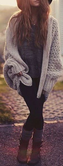 #fall #outfits / Knitted Cardigan - Boots