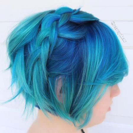 Hair Blue Color Fine