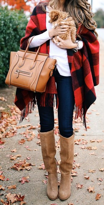 #fall #outfits / Red Plaid Over Size Scarf