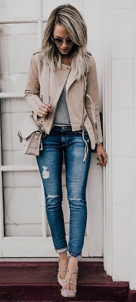 #fall #outfits / Beige Leather Jacket - Grey Top