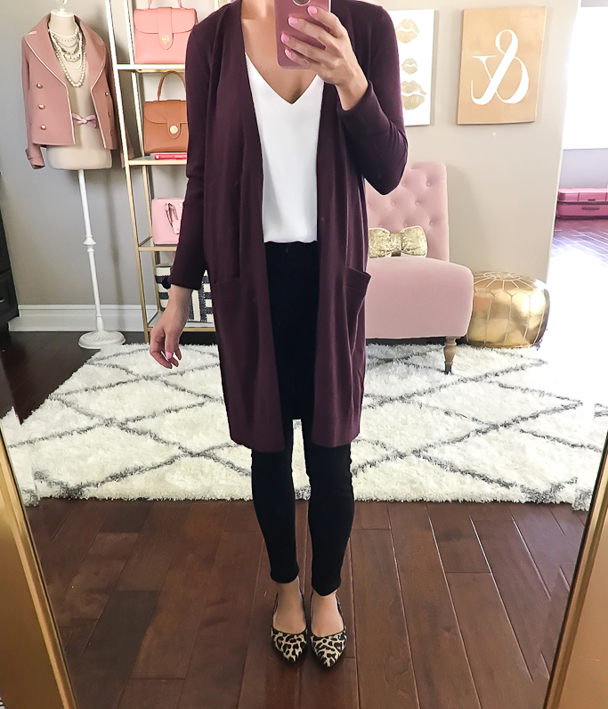 #fall #outfits / Burgundy Cardigan - Cheetah Flats