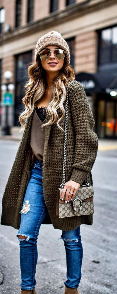 #fall #outfits / Dark Green Knitted Cardigan - Beige Beanie
