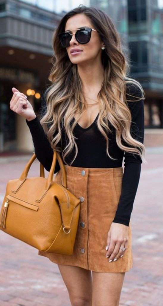 #fall #outfits / Black V-Neck Long Sleeve - Sandy Brown Skirt