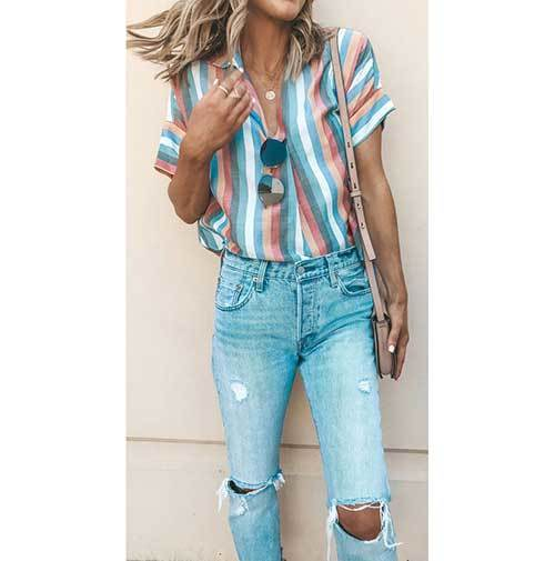 Spring Ripped Jeans Outfit İdeas