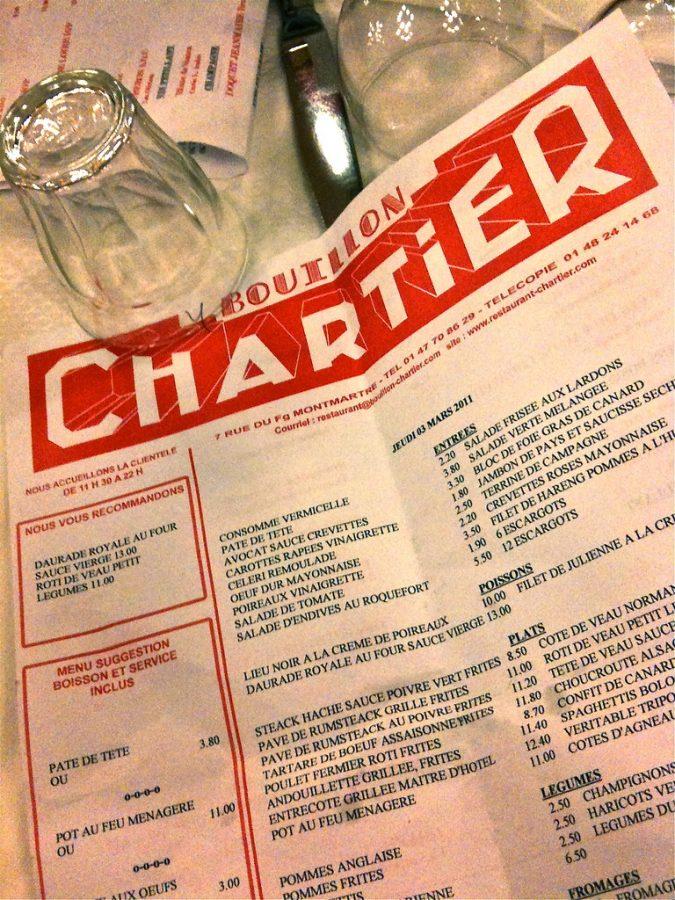 Bouillon Chartier Paris - le menu