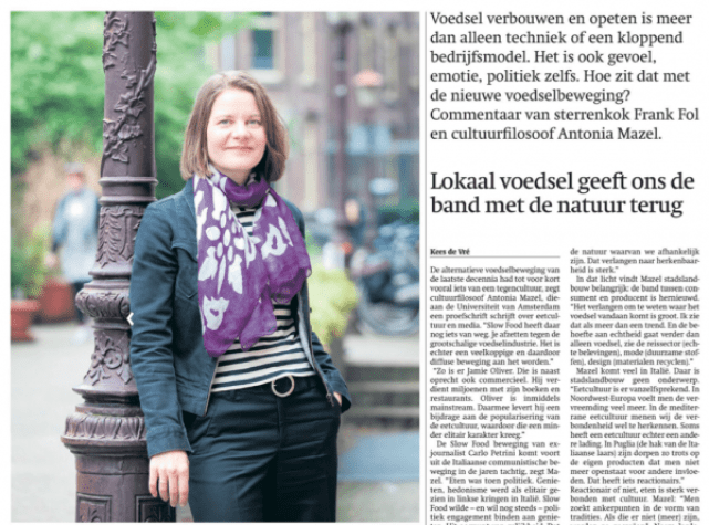 Download het interview met Antonia Mazel in Trouw van 23 mei 2012 over 'Eten in 2025' (PDF, 0,5 mb)